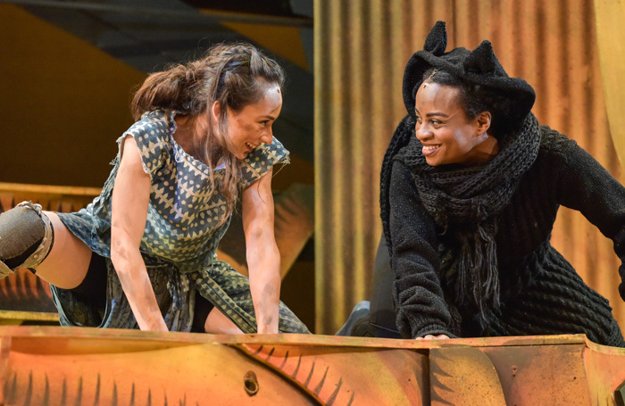 Iniki Mariano and Esme Sears in The Jungle Book at Derby Theatre. Photo: Robert Day