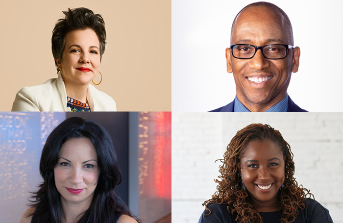 New artistic directors in the US. Clockwise from top left: Maria Manuela Goyanes at Woolly Mammoth Theatre, Robert Barry Fleming Actors Theatre of Louisville, Nataki Garrett of Oregon Shakespeare Festival, Stephanie Ybarra of Centerstage Baltimore. Photo: Daniel Winters