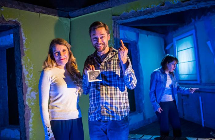 Allison McKenzie, Finlay Robertson and Natalie Klamar in Wilderness at Hampstead Theatre, Downstairs. Photo: Tristram Kenton