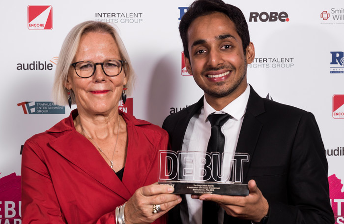 Presenter Phyllida Lloyd with winner of the award for best actor Akshay Sharan at The Stage Debut Awards last year. Photo: Alex Brenner