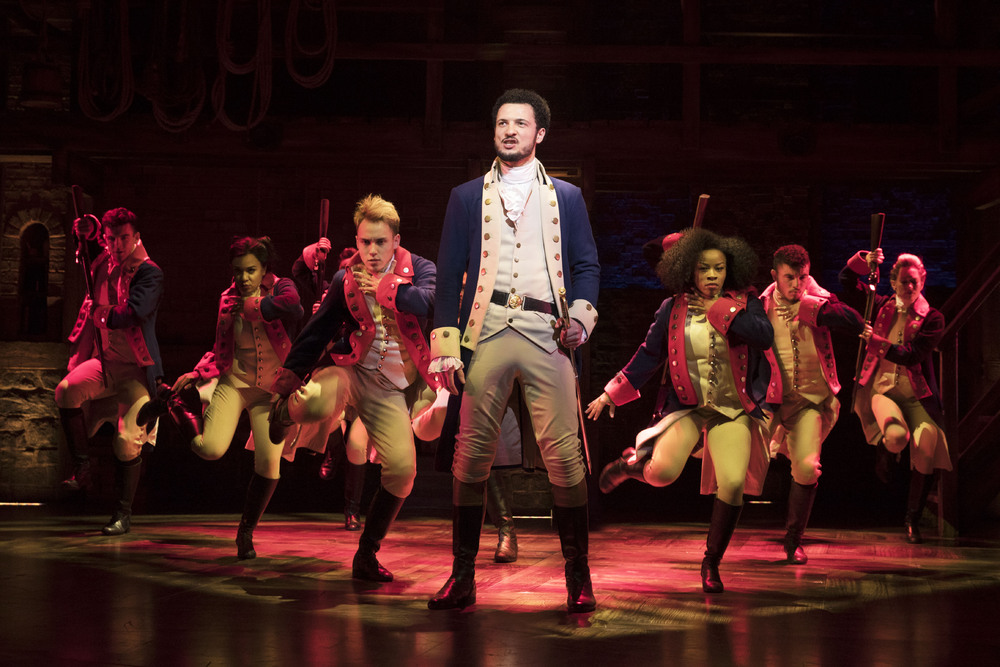 Jamael Westman with the West End cast of Hamilton. Photo: Matthew Murphy