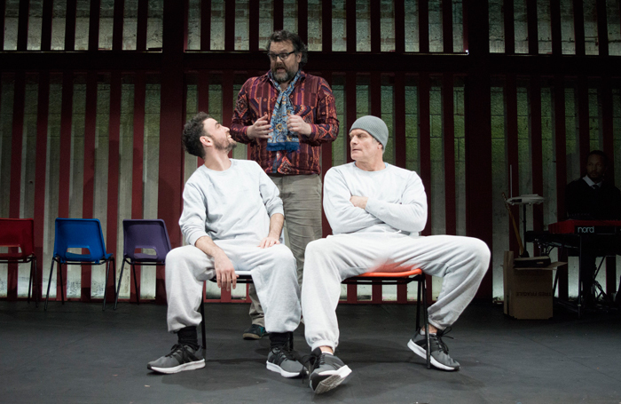 Declan Perring, Ché Walker and Victor Gardener in Intra Muros at Park Theatre, London. Photo: Edward Johnson