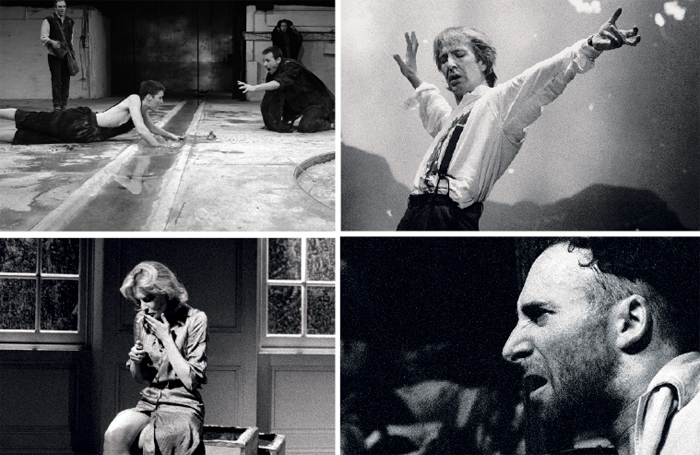 Clockwise from top left: Fiona Shaw in the RSC's Electra at theBarbican Centre (1988); Alan Rickman in Tango at the End of Winter, Piccadilly Theatre (1991); Hello and Goodbye with Antony Sher (1988); Almeida production of Plenty, starring Cate Blanchett (1999). Photos: Ivan Kyncl / courtesy of V&A