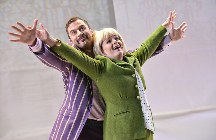Adam Langstaff and Nicky Swift in Grandma Saves the Day! at New Wolsey Theatre, Ipswich. Photo: Robert Day