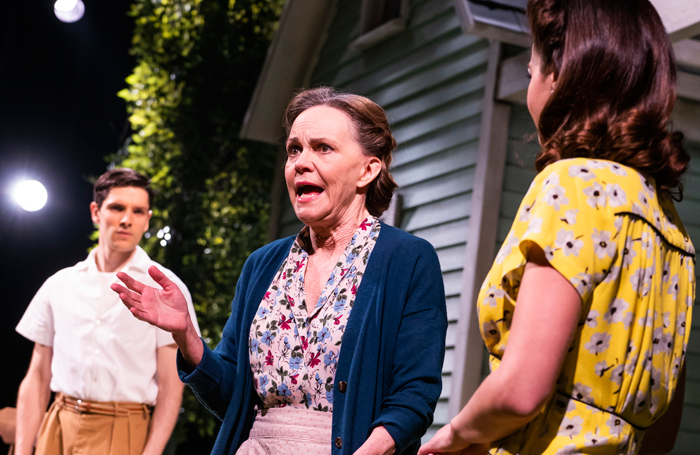Colin Morgan, Sally Field and Jenna Coleman in All My Sons at the Old Vic. Photo: Tristram Kenton