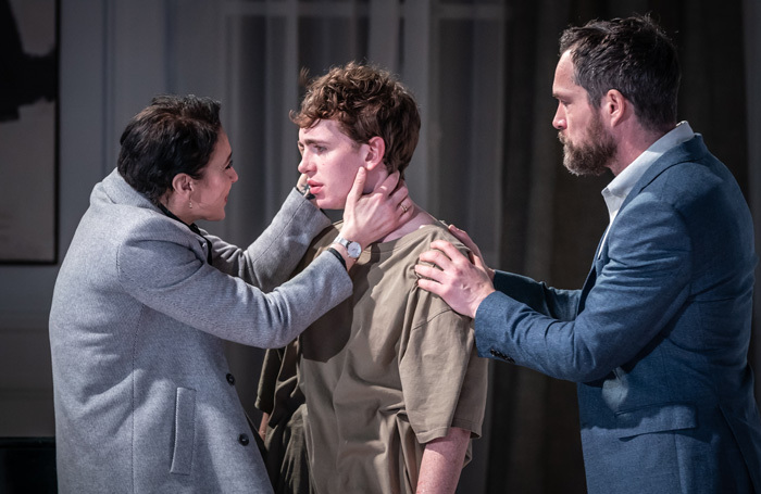Amanda Abbington, Laurie Kynaston and John Light in The Son at Kiln Theatre, London. Photo: Marc Brenner