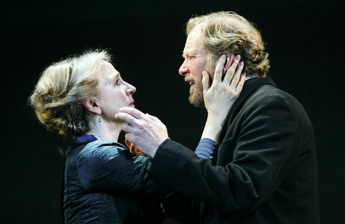 Penny Downie and James Wilby in Ghosts at Royal and Derngate, Northampton. Photo: Sheila Burnett