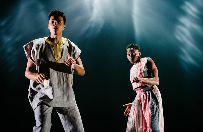 Kwami Odoom and Rakie Ayola in The Half God of Rainfall at Kiln Theatre. Photo: Dan Tsantilis