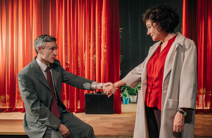Cal MacAninch, Lorraine McIntosh in The Mistress Contract at Tron Theatre, Glasgow. Photo: Mihaela Bodlovic