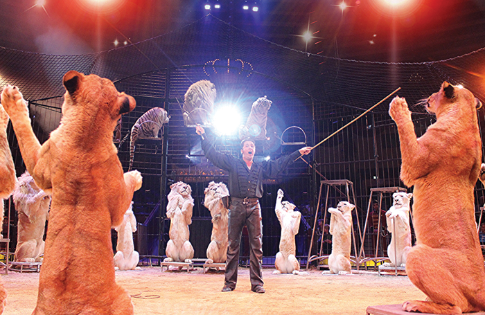 Martin Lacey, winner of the Gold Clown award at this year's International Circus Festival in Monte Carlo, performing in Germany