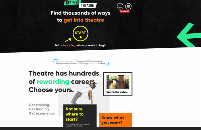 Screenshot of the Get Into Theatre website
