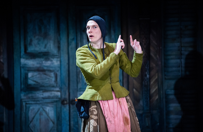 Charlotte Arrowsmith performing as Curtis in The Taming of the Shrew at the Royal Shakespeare Theatre, Stratford-upon-Avon. Photo: Ikin Yum