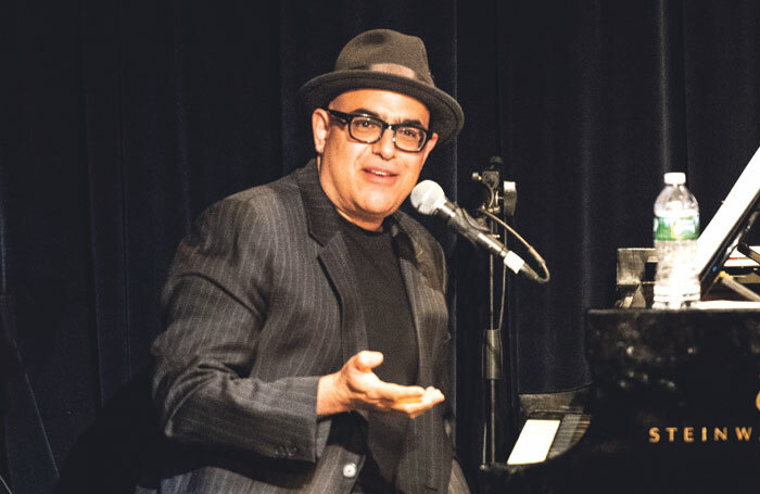 David Yazbek performing at the 16th-anniversary party for the musical theatre record label Sh-K-Boom, at Symphony Space in New York, in 2016. Photo: Howard Sherman