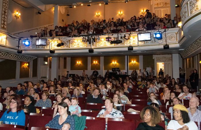 The audience during the baby and parent performance of Emilia at the Vaudeville