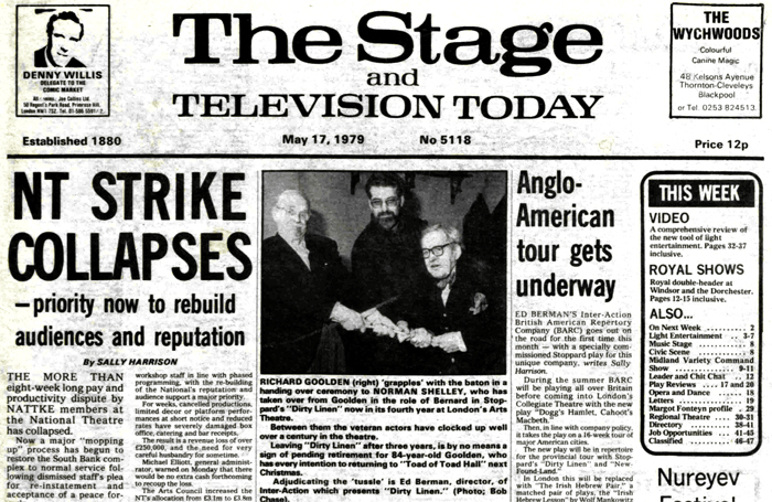 Front page of The Stage on May 17, 1979