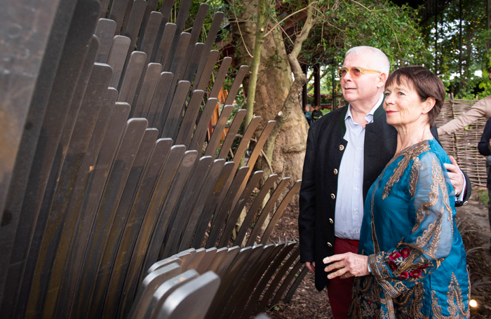 Christopher Biggins and Celia Imrie attended the unveiling of the memorial sculpture to honour David Conville at Regent's Park Open Air Theatre. Photo: David Jensen
