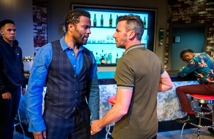 Ray Fearon and Jay Simpson in The Firm at Hampstead Theatre, Downstairs. Photo: Tristram Kenton
