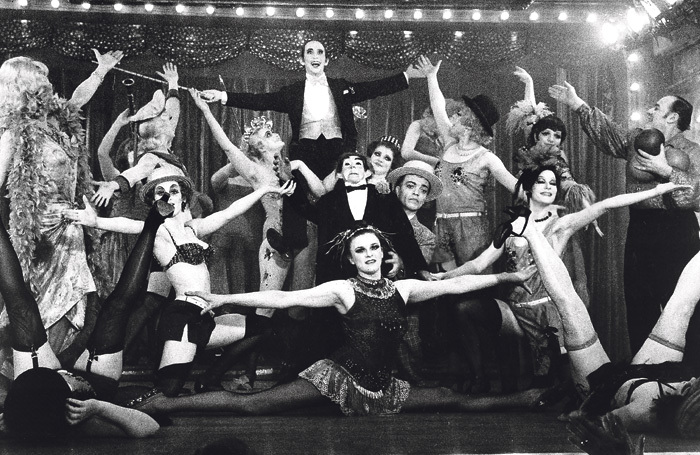 Joel Grey's MC is lifted aloft in Bob Fosse's Oscar-winning 1972 film Cabaret. Photo: ABC Pictures/Allied Artists