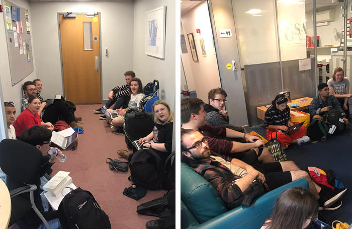 Guildford School of Acting students occupy the management offices