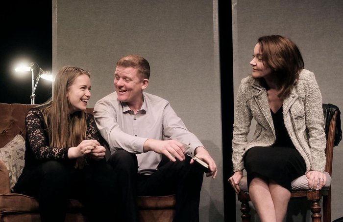 Bea Watson, Cameron Robertson and Emmy Happisburgh in Harper Regan at the Tabard Theatre, London. Photo: Rob Youngson