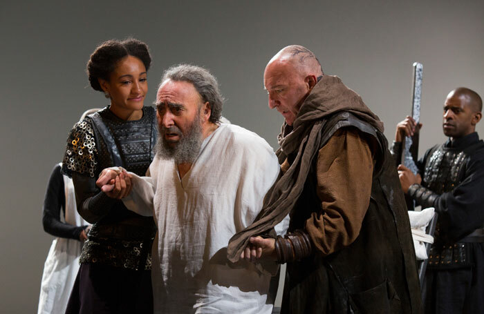 Antony Sher with Natalie Simpson and Antony Byrne in King Lear at the Royal Shakespeare Theatre, Stratford-upon-Avon, in 2016. Photo: Ellie Kurttz