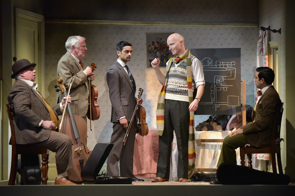 Eric Potts, Patrick Driver, Devesh Kishore, Dominic Gately and Luke Murphy in The Ladykillers at Theatre by the Lake. Photo: Robert Day