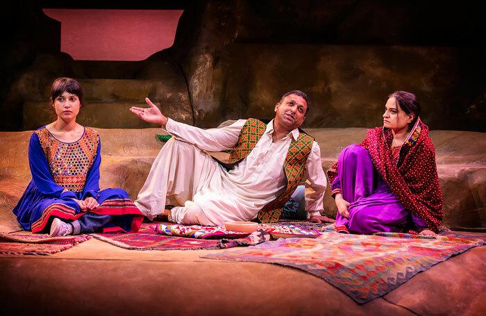 Sujaya Dasgupta, Pal Aron  and Amina Zia in A Thousand Splendid Suns at Birmingham Repertory Theatre. Photo: Pamela Raith