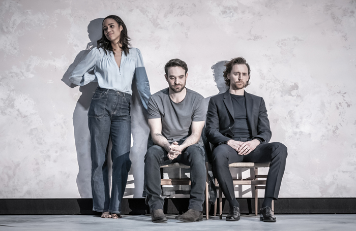"""Zawe Ashton, Charlie Cox and Tom Hiddleston in Betrayal – a show with a minimalist set designed by Soutra Gilmour. """"A minimalist space is as much a character as any filled-to-the-brim room. And therefore needs a designer,"""" says Grace Smart"""