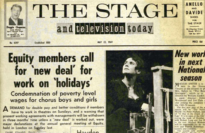 Front page of The Stage on May 22, 1969