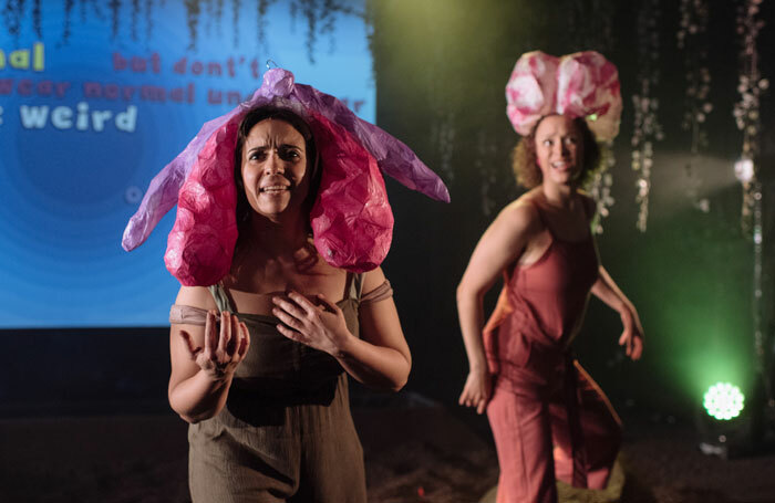 Sara Alexander and Bella Heesom in Rejoicing at Her Wondrous Vulva the Young Woman Applauded Herself at Ovalhouse. Photo: David Monteith Hodge