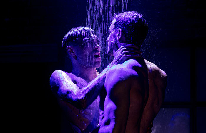 Jesse Fox and Danny Mahoney in Afterglow at Southwark Playhouse, London. Photo: Darren Bell