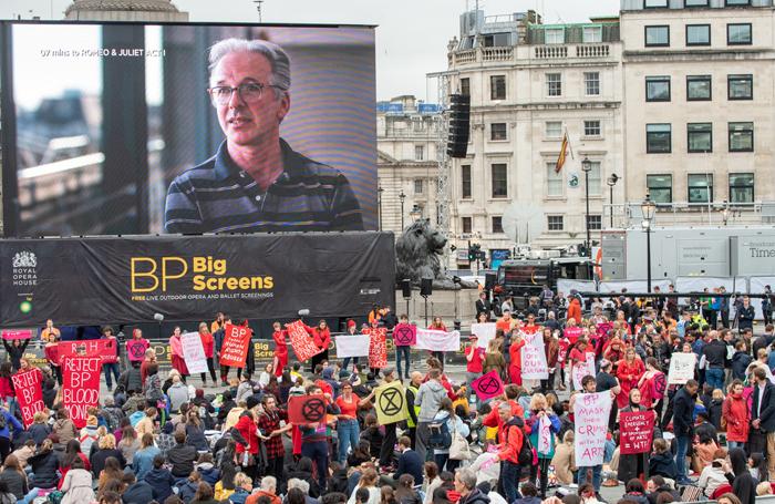 Extinction rebellion protesters at the ROH screening in Trafalgar Square. Photo: Joe Twigg