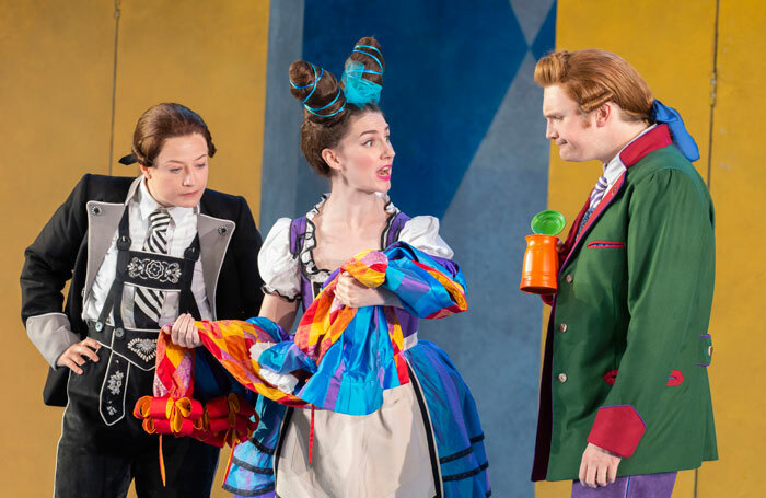 Hanna Hipp, Flora Macdonald and Benjamin Lewis in Fantasio at Garsington Opera. Photo:  John Snelling