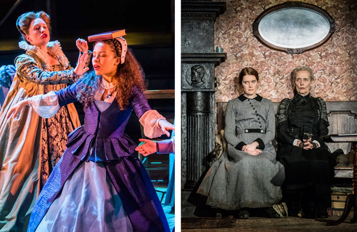 Emilia (left) is playing at London's Vaudeville Theatre, which in 1912 hosted Githa Sowerby's Rutherford and Son (right, in the National Theatre's current production). Photos: Tristram Kenton/Johan Persson