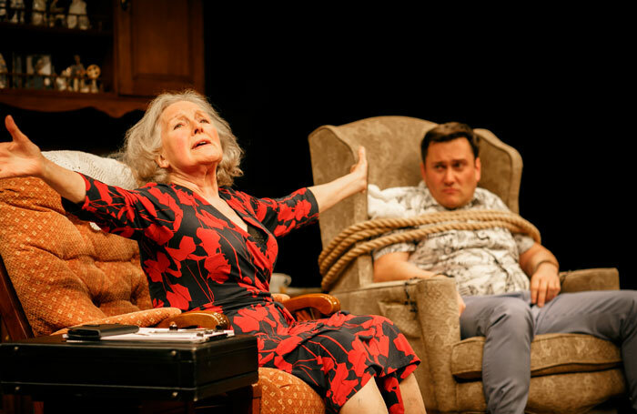 Marlene Sidaway and Kevin Tomlinson in Beneath the Blue Rinse at Park Theatre, London. Photo: Ben Wilkin