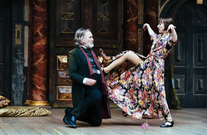 Pearce Quigley and Bryony Hannah in The Merry Wives of Windsor at Shakespeare's Globe, London. Photo: Helen Murray