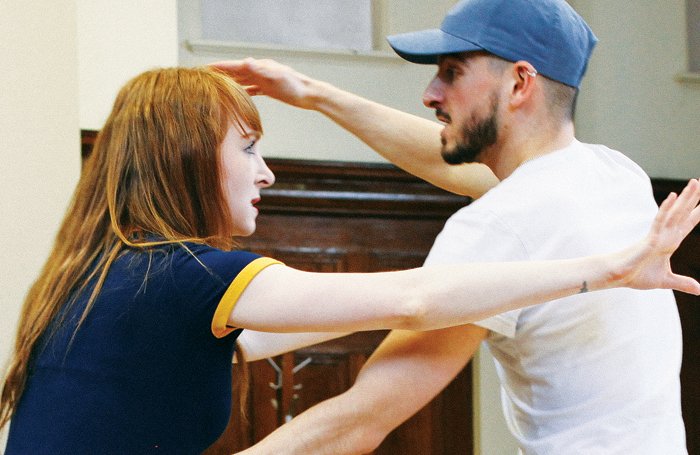 Michelle Fox and Nima Taleghani in rehearsals for Armadillo at the Yard. Photo: Alex Krook