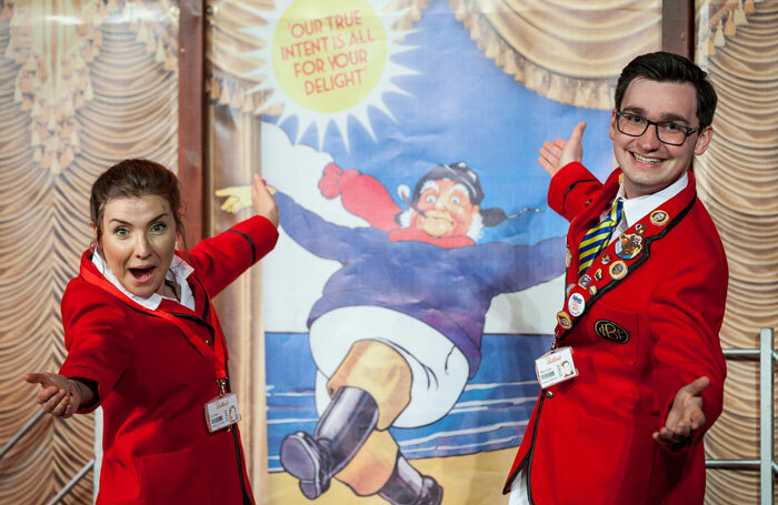 Rachel Benson and Christopher Arkeston in Mikron Theatre's Redcoats. Photo: Peter Boyd
