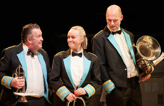 Howard Chadwick, Clara Darcy and Andy Cresswell in Brassed Off at New Vic Theatre. Photo: Mark Douet