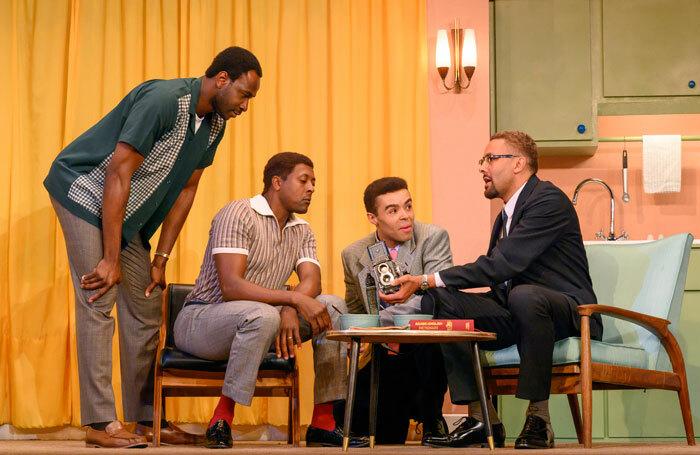 Miles Yekinni, Matt Henry, Conor Glean, Christopher Colquhoun in One Night in Miami at Nottingham Playhouse. Photo: Richard Hubert Smith