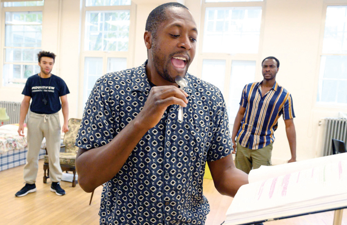 Matt Henry (centre) in rehearsals for One Night in Miami. Photo: Nottingham Playhouse