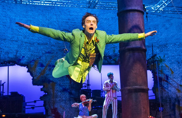 Paul Hilton (Peter Pan) in Peter Pan at the Olivier, National Theatre. Photo: Tristram Kenton