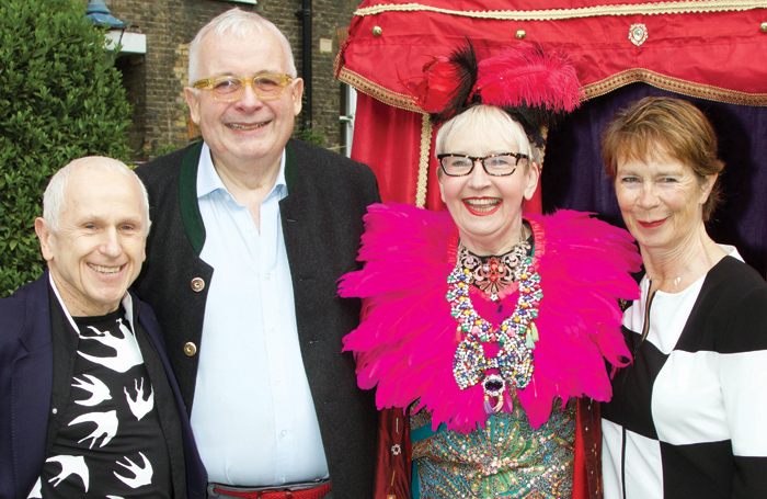 Pollard (second from right) with pals Wayne Sleep, Christopher Biggins and Celia Imrie at the West End Flea Market. Photo Mark Lomas