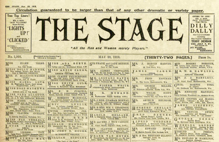 Front page of The Stage, May 29, 1919