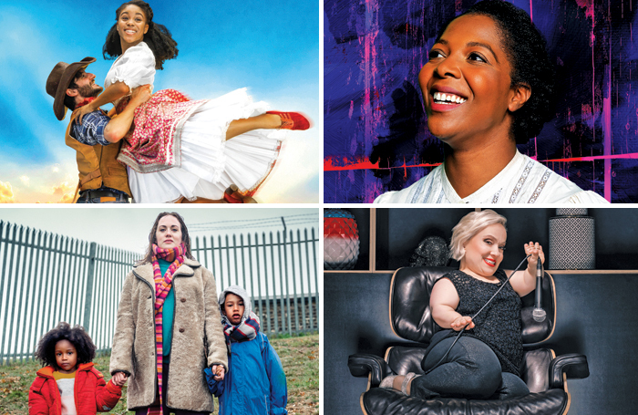 Clockwise from top left: Oklahoma! at Chichester Festival Theatre; T'Shan Williams in The Color Purple, Leicester Curve/Birmingham Hippodrome; Kiruna Stamell in Them! at Tramway, Glasgow; The End of History at Royal Court, London. Photos: Pamela Raith/Michaela Bodlovic/Niall McDiarmid