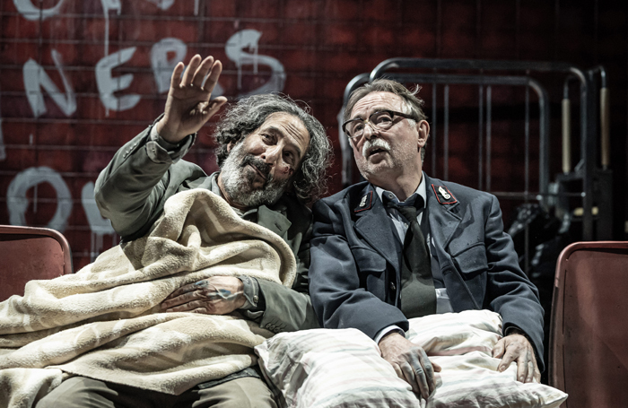 Kevork Malikyan and Ron Cook in Europe at the Donmar Warehouse, London. Photo: Marc Brenner