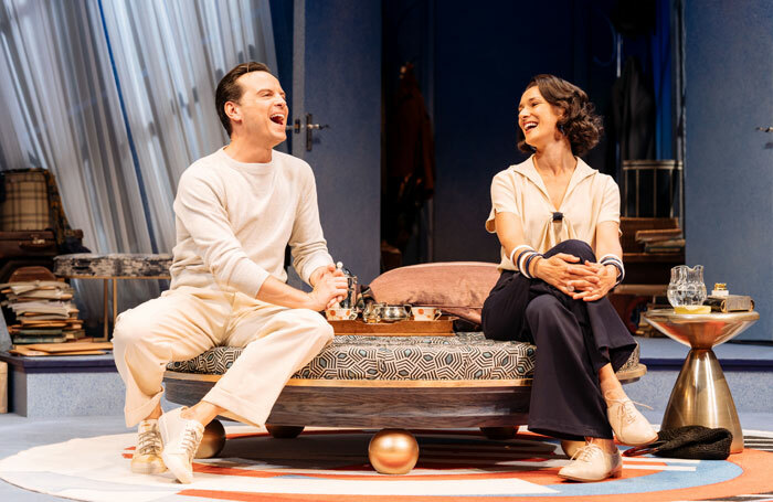 Andrew Scott and Indira Varma in Present Laughter at Old Vic, London. Photo: Manuel Harlan