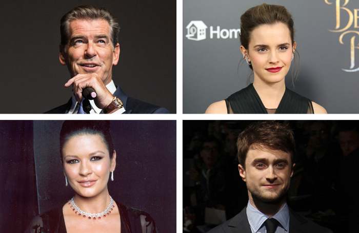 Pierce Brosnan, Emma Watson, Catherine Zeta-Jones and Daniel Radcliffe are among actors who appeared on this year's Sunday Times Rich List top 100 in TV, film and music