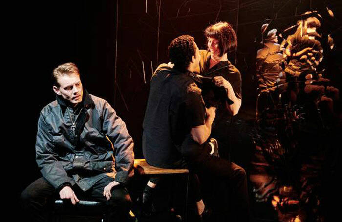 Dan Monaghan, Daryl McCormack and Clare McKenna in Citysong at Soho Theatre. Photo: Ros Kavanagh