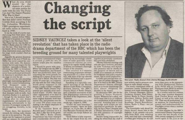 Obituary: Alan Drury – 'Playwright and BBC Radio Drama literary manager'